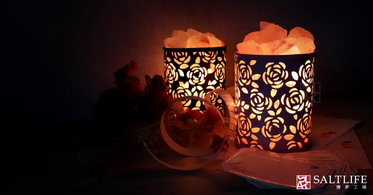 桌燈,玫瑰鹽燈,雕花,簍空,鹽燈